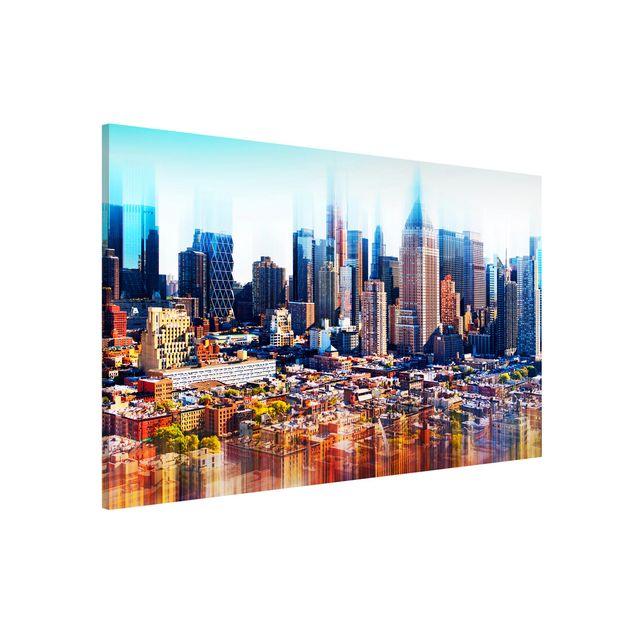 Magnettafel - Manhattan Skyline Urban Stretch - Memoboard Panorama Hoch