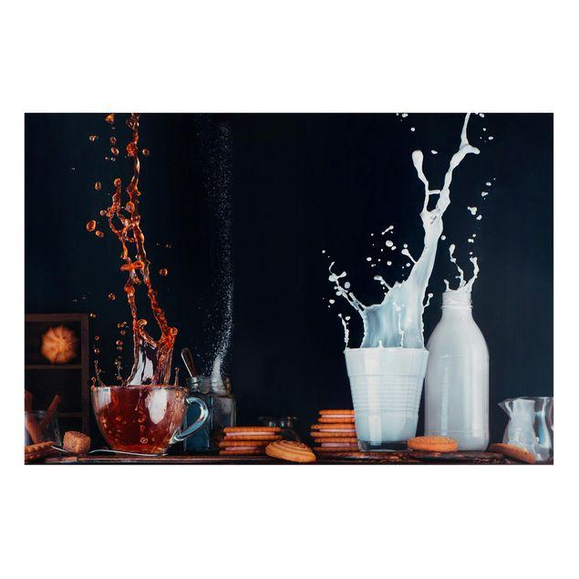 Magnettafel - Milch und Tee Komposition - Memoboard Panorama Querformat