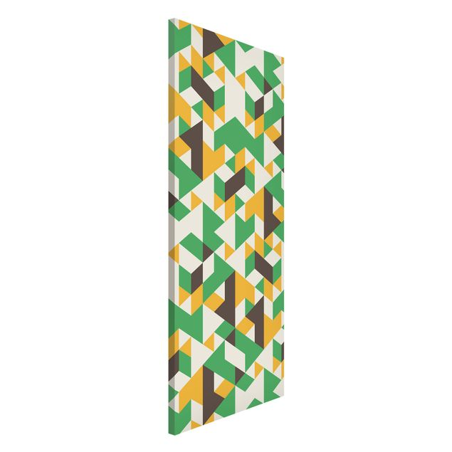 Magnettafel - No.RY34 Green Triangles - Memoboard Panorama Hoch