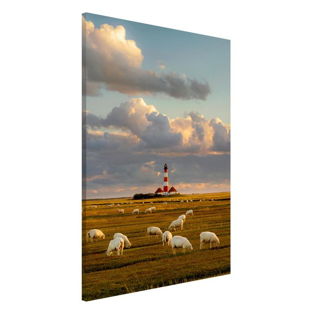 Magnettafel - Nordsee Leuchtturm mit Schafsherde - Memoboard Querformat