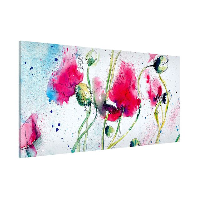 Magnettafel - Painted Poppies - Memoboard Panorama Quer