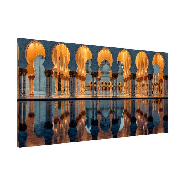 Magnettafel - Reflexionen in der Moschee - Memoboard Panorama Quer