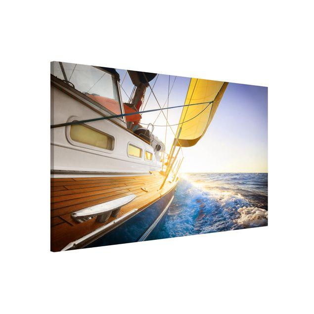 Magnettafel - Segelboot auf blauem Meer bei Sonnenschein - Memoboard Quer