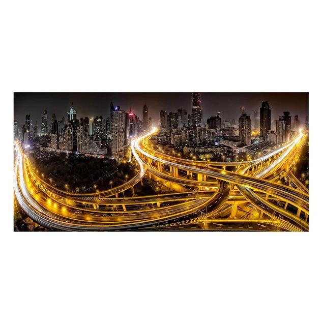 Magnettafel - Shanghai at Night - Memoboard Panorama Quer