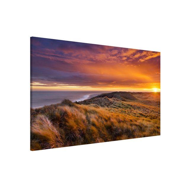 Magnettafel - Sonnenaufgang am Strand auf Sylt - Memoboard Quer