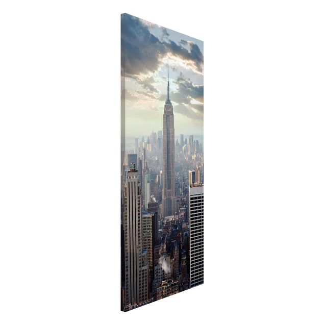 Magnettafel - Sonnenaufgang in New York - Memoboard Panorama Hoch