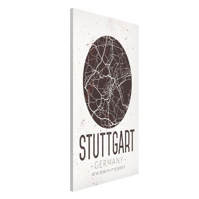 Magnettafel - Stadtplan Stuttgart - Retro - Memoboard Hochformat