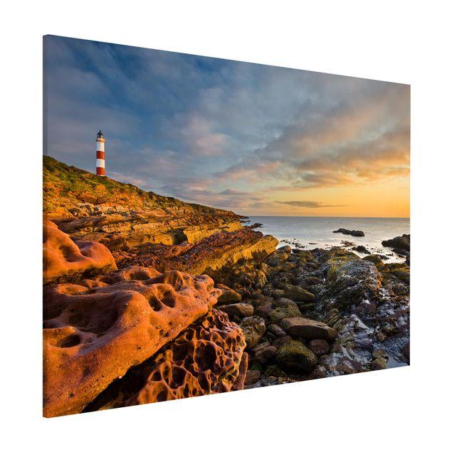 Magnettafel - Tarbat Ness Meer & Leuchtturm bei Sonnenuntergang - Memoboard Quer
