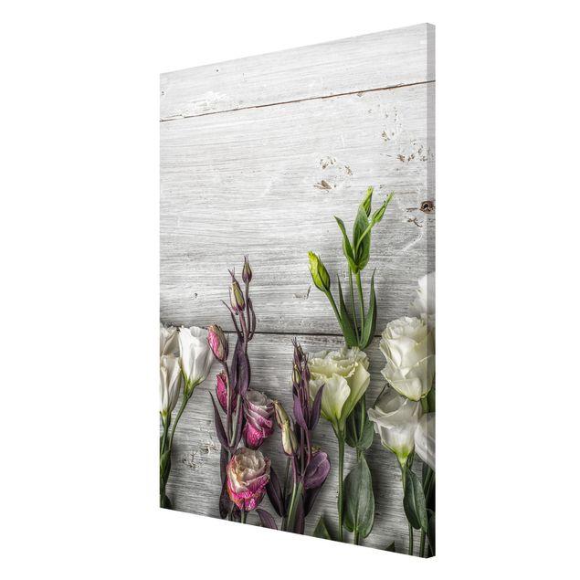 Magnettafel - Tulpen-Rose Shabby Holzoptik - Memoboard Quer