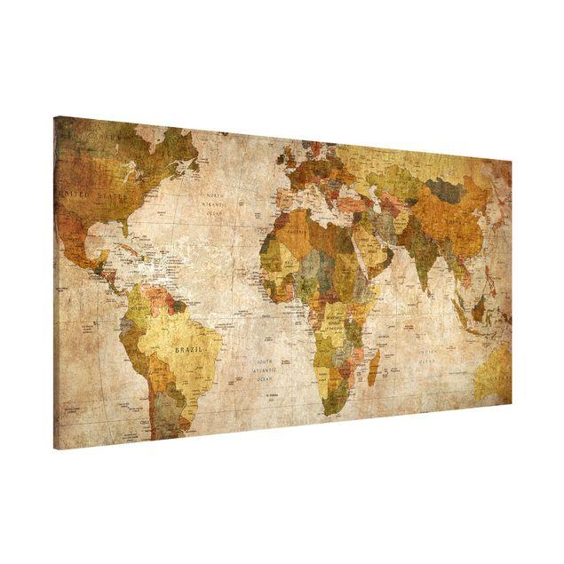 Magnettafel - Weltkarte - Memoboard Panorama Quer