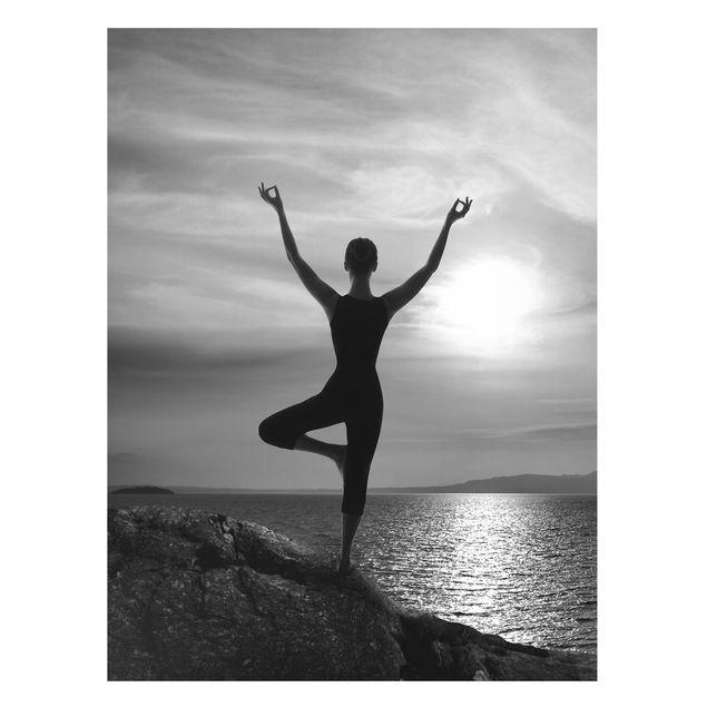 Magnettafel - Yoga schwarz weiss - Memoboard Hoch