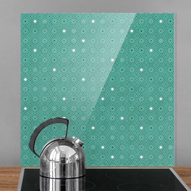 Spritzschutz Glas - Marokkanisches Sternen Muster - Quadrat 1:1