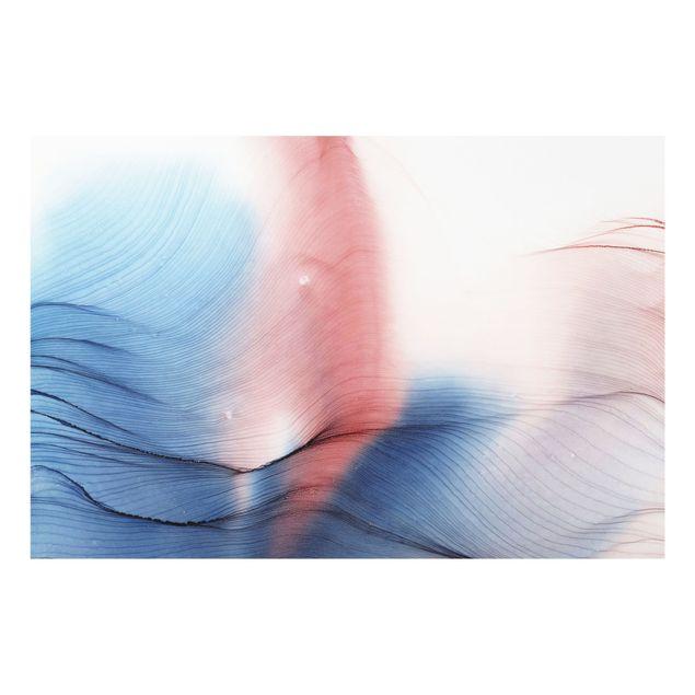 Spritzschutz Glas - Melierter Farbtanz in Blau mit Rot - Querformat 3:2