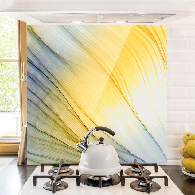 Spritzschutz Glas - Melierter Farbtanz in Honig - Quadrat 1:1