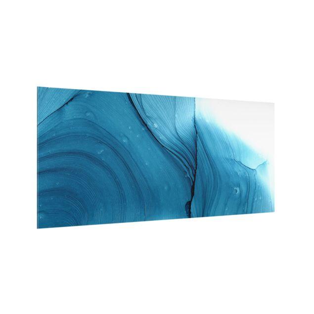 Spritzschutz Glas - Meliertes Blau - Querformat 2:1