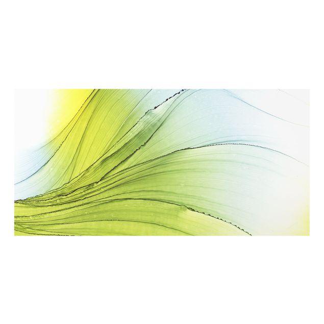 Spritzschutz Glas - Meliertes Gelb mit Himmelblau - Querformat 2:1