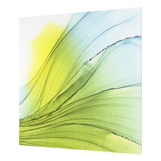 Spritzschutz Glas - Meliertes Gelb mit Himmelblau - Quadrat 1:1