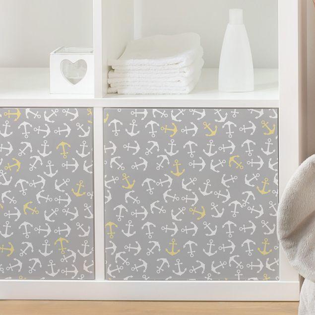 Möbelfolie - Anker Weiß Gelb auf Grau - Klebefolie für Möbel