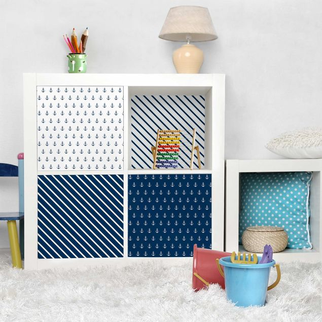 Möbelfolie blau weiss - Maritimes Anker und Streifen Set - Polarweiss Preussisch Blau
