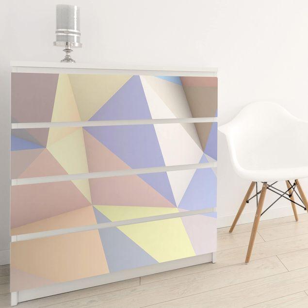 Möbelfolie - Geometrische Pastell Dreiecke in 3D