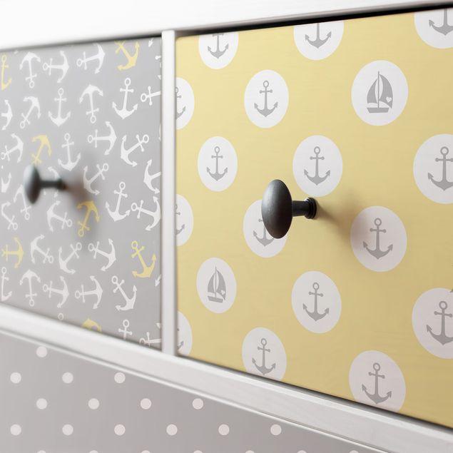 Möbelfolie grau gelb - Maritimes Kachel-Set mit Anker, Streifen und Punkten