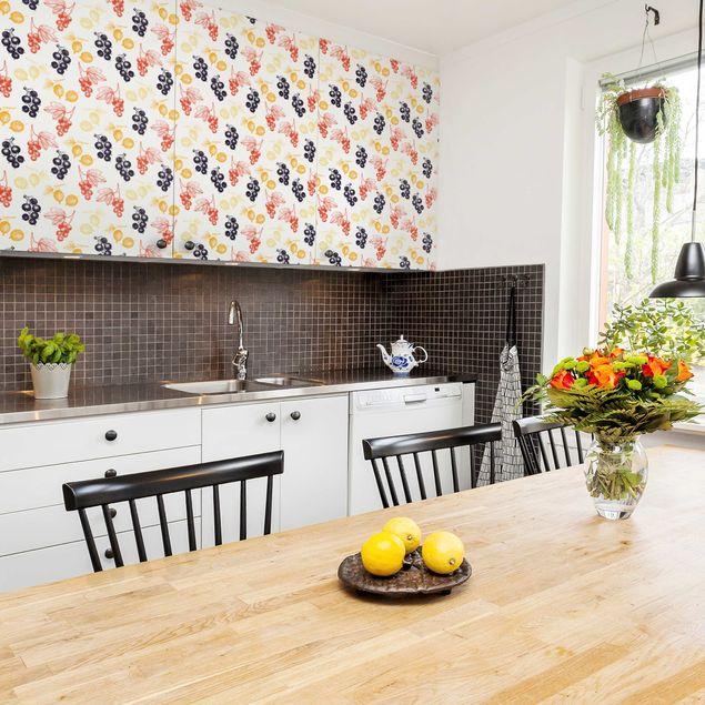 Möbelfolie - Handgezeichnete Beerenfrüchte Muster für Küche - Möbel Klebefolie