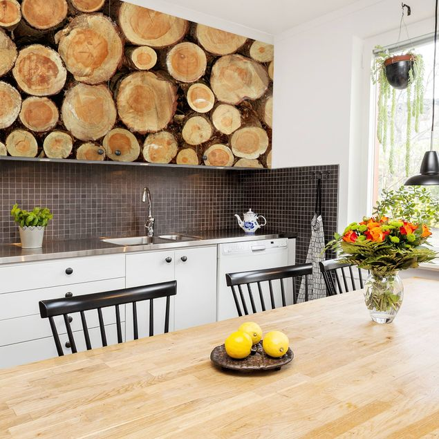 Möbelfolie Holz - Baumstämme - Holzklebefolie