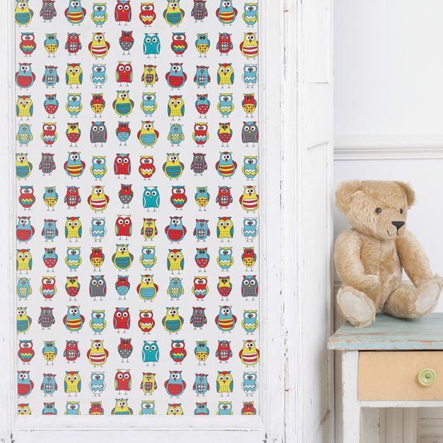 Möbelfolie - Kindermuster mit verschiedenen Eulen - Klebefolie für Möbel