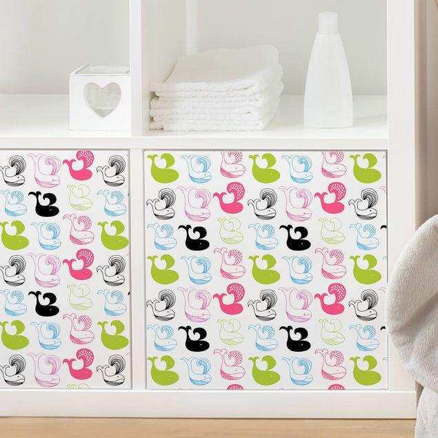 Möbelfolie - Kinderzimmer-Muster mit Blauwalen - Klebefolie für Möbel