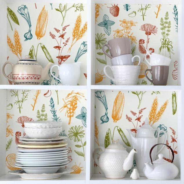 Möbelfolie Küche Set aus 2 Mustern mit Obst, Kräutern und Getreide