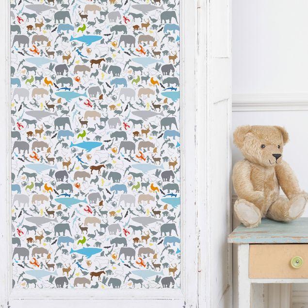Möbelfolie - Lernmuster für Kinder mit vielen verschiedenen Tieren - Selbstklebende Folie