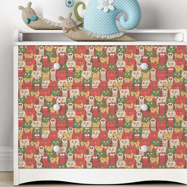 Möbelfolie - Muster mit lustigen Eulen rot - Folie für Möbel selbstklebend