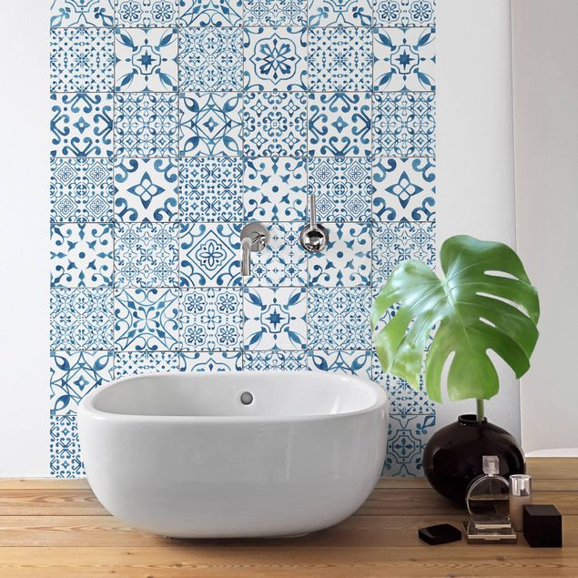 Möbelfolie - Musterfliesen Blau Weiß