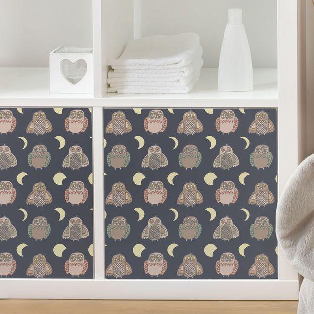 Möbelfolie - Nachteulen-Muster mit Mondphasen - Klebefolie für Möbel