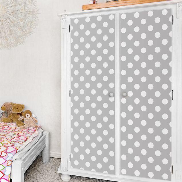 Möbelfolie - Punkte in Weiß auf Grau - Klebefolie für Möbel