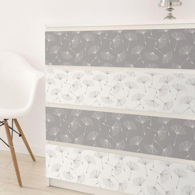 Möbelfolie Pusteblume Musterset in Achat Grau und Polarweiss