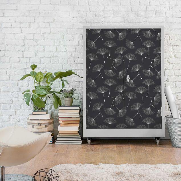 Möbelfolie - Pusteblumen Muster weiß dunkelgrau - Klebefolie für Möbel