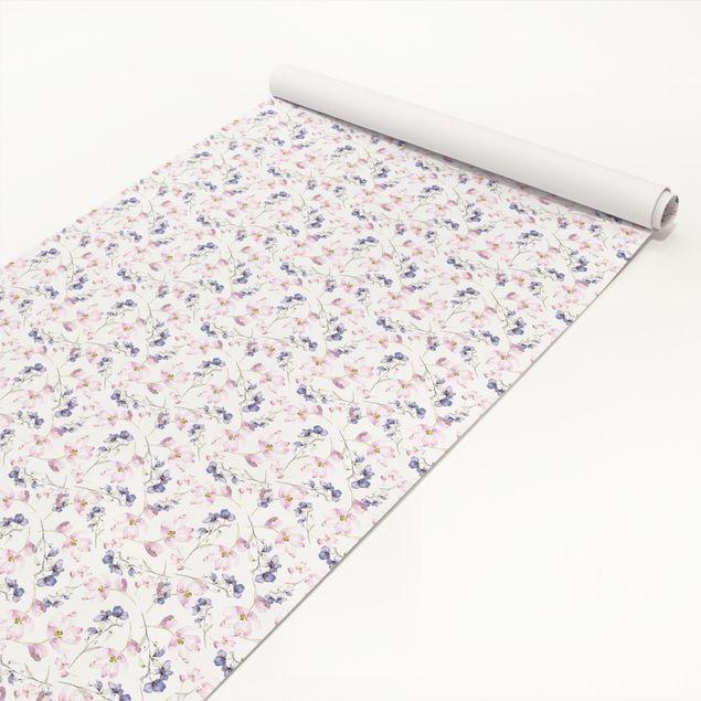 Möbelfolie - Sehr helles Aquarell Blumenmuster rose blau-violett - Selbstklebende Folie