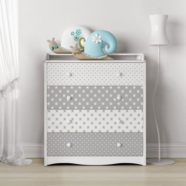Möbelfolie Kachel-Set - Grau weiße Sterne und Punkte in 4 Variationen
