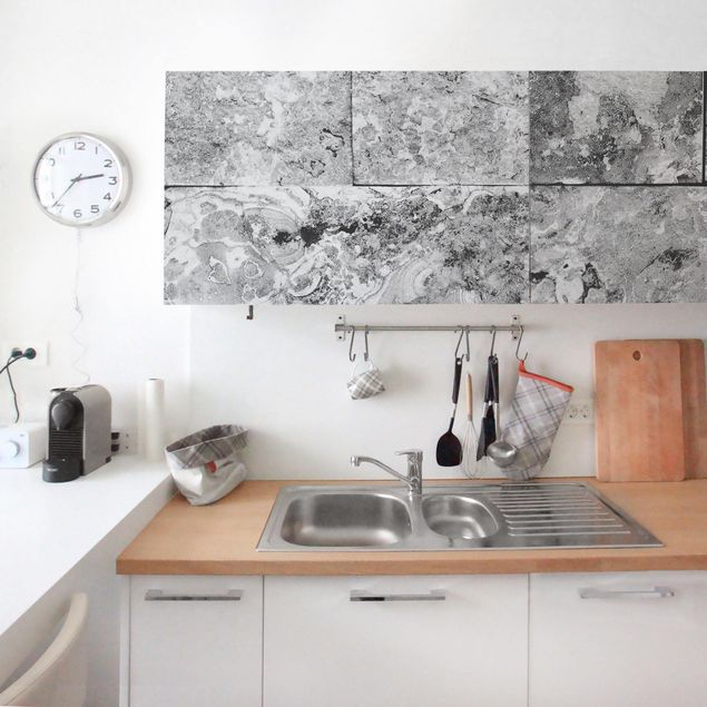 Möbelfolie - Steinwand Naturmarmor grau