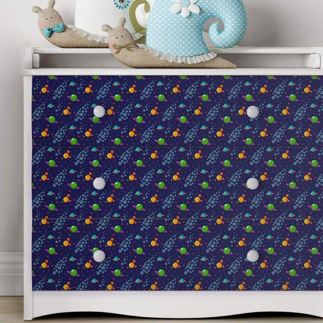 Möbelfolie - Weltall Kindermuster mit Planeten und Sternen - Möbel Klebefolie