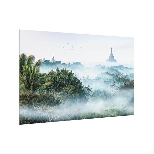 Spritzschutz Glas - Morgennebel über dem Dschungel von Bagan - Querformat 3:2