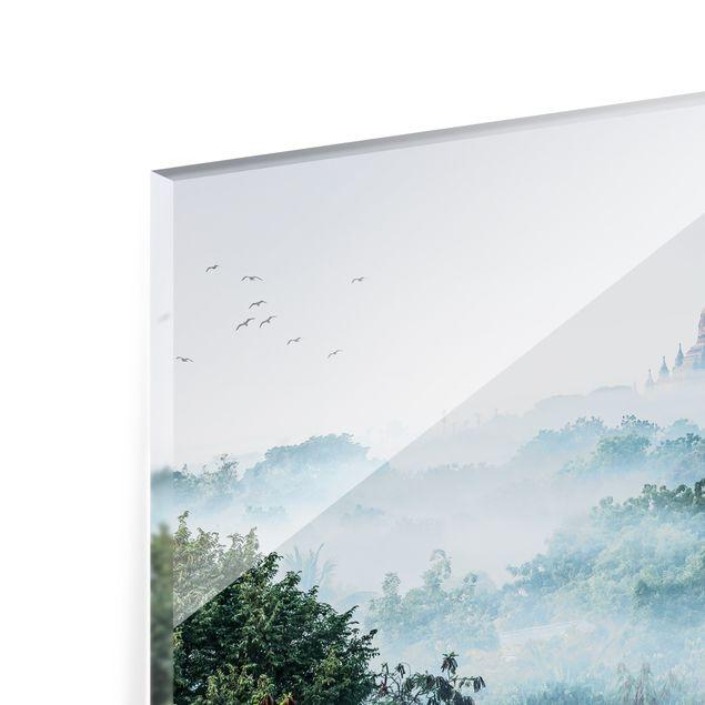 Spritzschutz Glas - Morgennebel über dem Dschungel von Bagan - Querformat 4:3