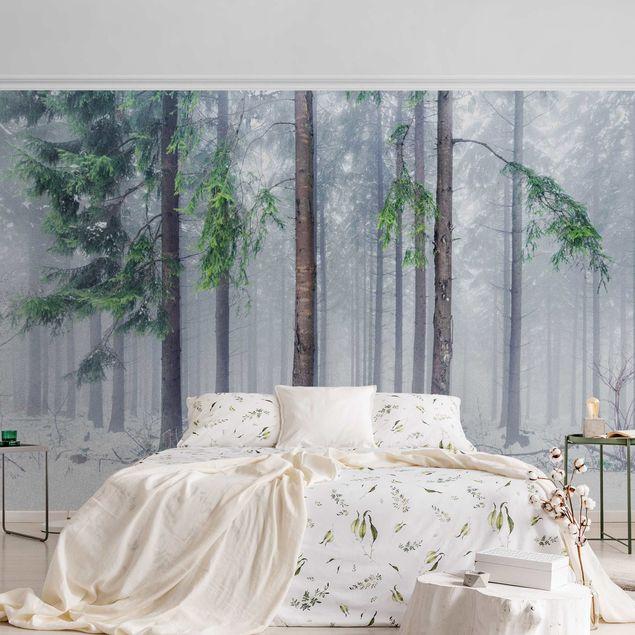 Metallic Tapete - Nadelbäume im Winter