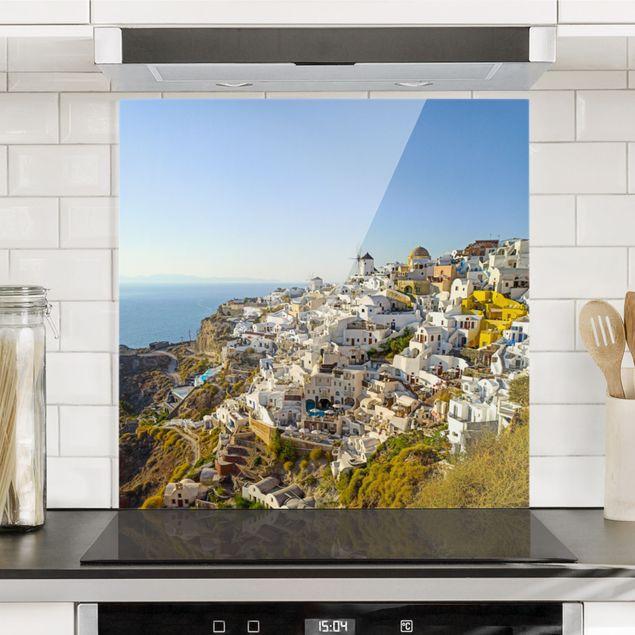 Spritzschutz Glas - Oia auf Santorini - Quadrat 1:1