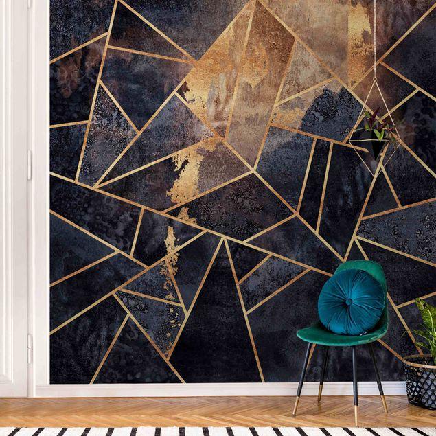 Metallic Tapete - Onyx mit Gold