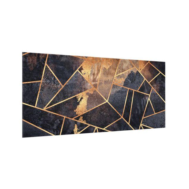 Spritzschutz Glas - Onyx mit Gold - Querformat 2:1