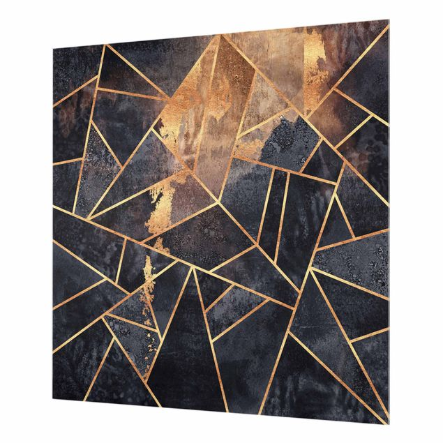 Spritzschutz Glas - Onyx mit Gold - Quadrat 1:1