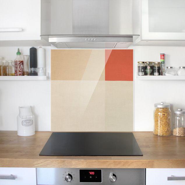 Spritzschutz Glas - Oranges Rechteck auf Beige - Quadrat 1:1