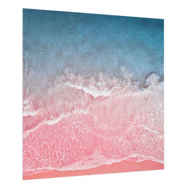 Spritzschutz Glas - Ozean in Pink - Quadrat 1:1